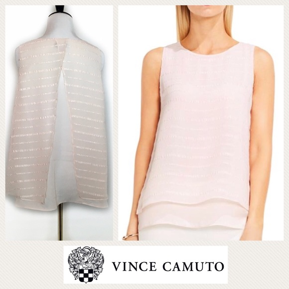 713e2b1ac5172 Vince Camuto Sheer Pink Embroidered Stripe Tank PM